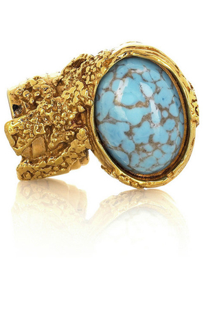 YSL Yves Saint Laurent Art Deco Ring 2011 Turquoise oval gold
