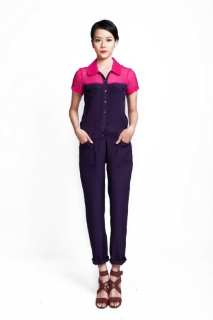 Linda Mai Phung Annel jumpsuit, silk pink and purple, ethical fashion