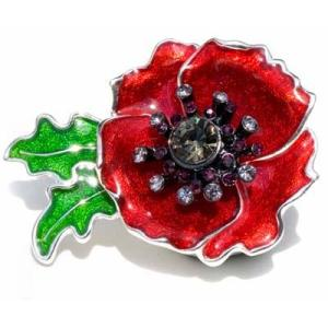 Kleshna 2011 Poppy Crystal Brooch Kleshna poppy enamel brooch sparkly poppy Kleshna poppy jewelled poppy sequinned poppy British legion sparkly poppy British legion poppy appeal
