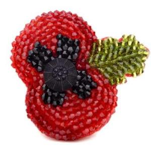 Kleshna 2011 Poppy Crystal Brooch sparkly poppy Kleshna poppy jewelled poppy sequinned poppy British legion sparkly poppy British legion poppy appeal