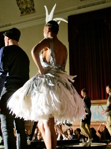 feathers Black Swan inspired dress Good Fashion Show TellusFashion ethical boutique launch ethical fashion London Fashion Week A/W 12