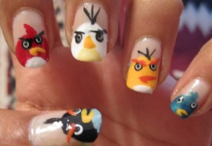 Angry Birds nail art Angry Birds nail polish Angry Birds nail varnish Angry Birds nails