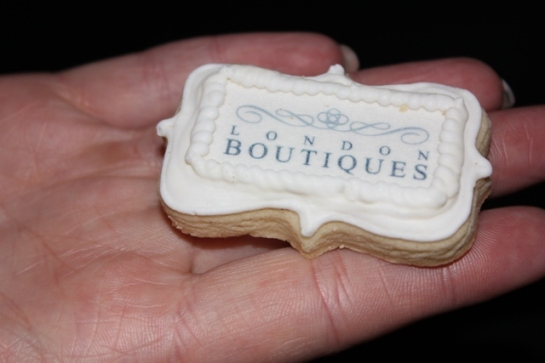 Branded biscuits at the London-Boutiques launch 2012 professional iced biscuits