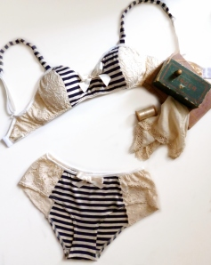 Striped sailor bra Lace bra and pants set vintage inspired handmade custom made lingerie Ohhh Lulu
