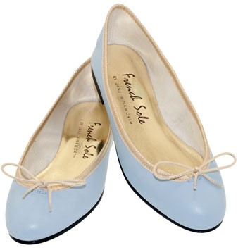 French Sole ballet pumps pale blue and gold ballet pumps