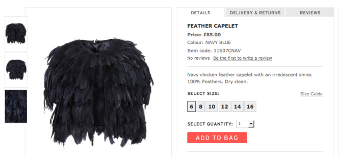 Topshop Witching Hour collection feather capelet Halloween costume Halloween fashion spooky fashion