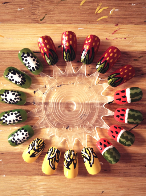 Fruit salad nails watermelon nail art kiwi nail art strawberry nail art banana nail art fruit nails 2013